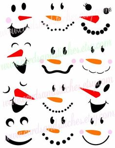 Snowman Faces SVG - Snowmen SVG - Winter - Digital Cutting File - Graphic Design - Vector File - Instant Download - Svg, Dxf, Jpg, Eps, Png by cardsandstitches on Etsy