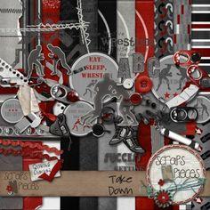 $5.99 - Takedown Red digital scrapbook kit - WRESTLING