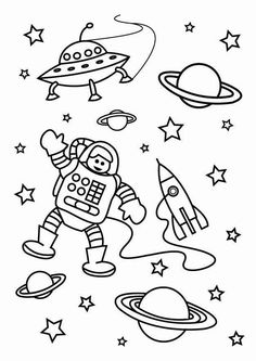 astronaut the astronaut on the outer space mission coloring page