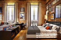 curtains for tall ceilings brick wall - Google Search