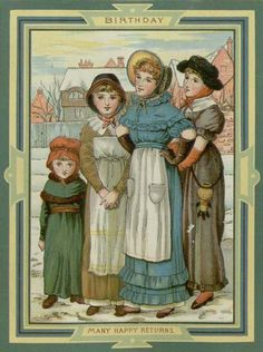 Many Happy Returns (c.1888): Illustration in the style of Kate Greenaway, from the Joan Parker Scrapbook. Parker Collection.