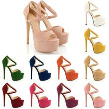 2014 HOT NEW OPEN TOE STRAPPY PLATFORM FAUX SUEDE THIN HIGH HEELS SANDAL SHOES 14CM(China (Mainland))