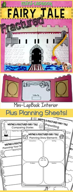 Fractured Fairy Tale castle shaped lapbook plus planning sheets. FUN creative writing assignment.