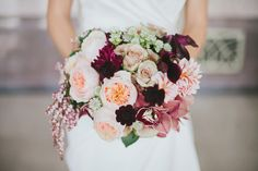 A stunning bouquet perfect for fall! We're in love with the deep plums and soft pinks! {Jen Rios Design}