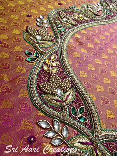 For orders contact Sri Aari Creatives - 9842995293 Aari Embroidery, Embroidery Works, Hand Embroidery Designs, Aari Work Blouse, Hand Work Blouse Design, Silk Saree Blouse Designs, Bridal Blouse Designs, Disney Drawings Sketches, Kutch Work