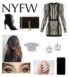 """""""Untitled #138"""" by carlarios101 ❤ liked on Polyvore featuring Balmain, Yves Saint Laurent and Anne Sisteron"""