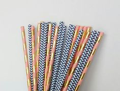 Set of assorted navy blue, coral and gold paper straws. The assortment includes: ♥ navy blue chevron paper straws ♥ coral and gold foil swirl stripe paper straws  These paper straws would be perfect for a birthday party, baby shower, wedding, bridal shower or really any special event. These give an upgraded look to your drinks and work well in most drinks like cocktails and mixed drinks, sangria, juices, sodas and teas. These can also be used as cake pop and dessert sticks for your dessert…
