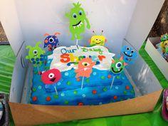 Baby shower monster theme cake