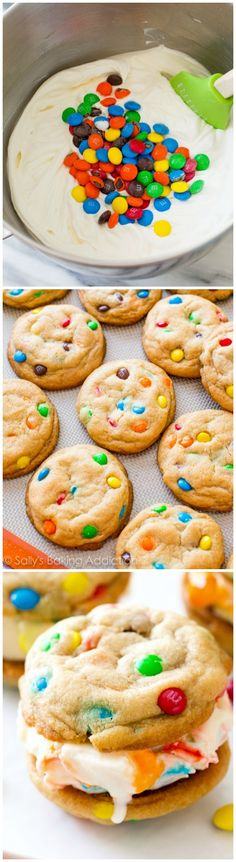 M&Ms Ice Cream Cookie Sandwiches: these are made with creamy homemade no-churn ice cream and the chewiest soft-baked cookies.