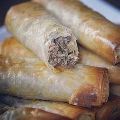 Phyllo Stuffed Beef Rolls  Phyllo dough isn't just for sweets! Makes a delicious savory appetizer as well. Give it a try this way, simple, easy, and delicious!   Recipe and video: https://youtu.be/38KbBZb8Mho