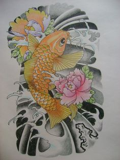 A couple of koi fish swimming around an otherwise blank piece of paper. Description from deviantart.com. I searched for this on bing.com/images