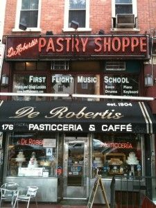 Back to De Robertis Pasticceria on 1st Avenue near 11th Street -- once a hangout for Lucky Luciano and Meyer Lansky, and later for members of the Gambino and Gotti families. Take the cannoli.