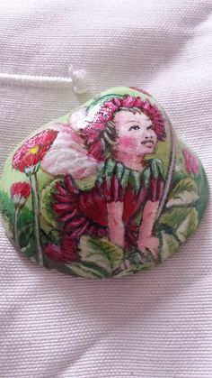 Flower Fairy by Moniqueart, via Flickr. Inspired by a Cicely Mary Barker illustration.  Painted in acrylic on a Shell.