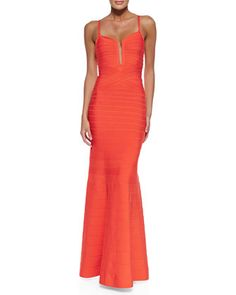 Wow! So perfect! Love it! Madelyn Plunging Bandage Mermaid Gown by Herve Leger at Neiman Marcus.