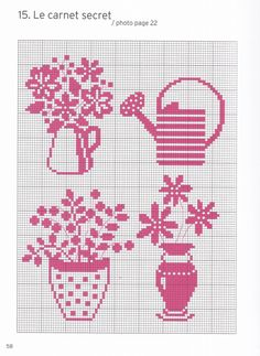 Plants and watering can miniature pattern / chart for cross stitch, crochet, knitting, knotting, beading, weaving, pixel art, micro macrame, and other crafting projects.