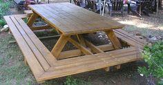 Custom Made Picnic Tables, Large Thru-Bolt Picnic Tables, Redwood Picnic Table. Wide Wrap Around Bench | Picnics, Picnic Tables and Tables