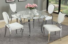 Letty 5Pc Dining Set by Chintaly w/Glass Top & Lacey Chairs