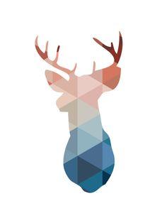 Navy & Coral Deer Head Print Deer Wall Art by MelindaWoodDesigns