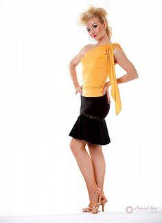 Natural Spin Signature Dance Tops(Short Sleeve):  LT25_YELLOW1