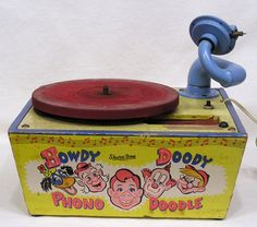 Vtg Howdy Doody Phono Doodle Childs Phonograph Clarabelle Flub A Dub 1950s #ShuraTone