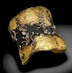 Judith Kaufman, Artist, Cuff, Oxidized fine silver, 22k yellow gold and diamonds.