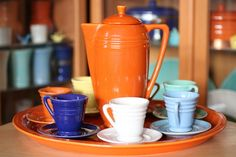 DEMITASSE SET : By Pacific Pottery. Pacific Pottery made sure that the hostess was prepared for any type of social event.