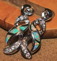 fire opal Cz earrings Gemstone silver jewelry elegant chic cocktail stud style E #Stud