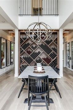 Do one of the shelves of the built in like this for wine room design cei. - Do one of the shelves of the built in like this for wine room design ceiling The Maxwell: M - Dining Room Feature Wall, Dining Room Wall Decor, Dining Room Lighting, Dining Room Design, Dining Room Bar, Shelves In Dining Room, Kitchen Open To Living Room, Living Room Open Concept, Dining Room Ceiling Lights