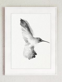 Hummingbird Black and White Illustration. 2 Grey Colibri Drawing Birthday Gift Idea. Abstract Minimalist Bird Art Print. Two Hummingbirds set Home Decor Rustic Painting. A price is for the set of 2 Hummingbird Art Prints as in the first picture.  Type of paper: Prints up to (42x29,7cm) 11x16 inch size are printed on Archival Acid Free 270g/m2 White Watercolor Fine Art Paper and retains the look of original painting. Larger prints are printed on 200g/m2 White Semi-Glossy Poster Pape...