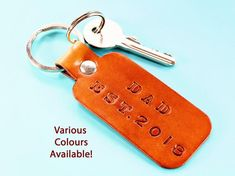 Click To Shop Now - Handmade Personalised Dad Leather Keyring, Hand Stamped Leather Keychain. #personalised #dad #leather #keyring #keychain #handstamped Leather Bookmark, Leather Keyring, Leather Gifts, Leather Craft, Handmade Leather, Unique Gifts For Dad, Gifts For New Dads, Gifts For Him, Dad Gifts