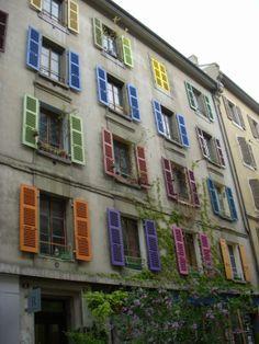 #colorful_shutters - #Geneva, #Switzerland  #holiday #travel  #vacation #Suisse