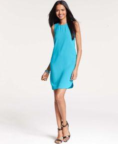 $128 Ann Taylor Shirttail Hem Sleeveless Turquoise Blue Shift Dress