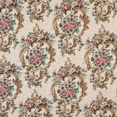 Beige or Tan or Taupe and Coral or Orange or Persimmon and Green and Blue and Gold or Yellow and White or Off-White color Floral and Heirloom or Vintage pattern Tapestry type Upholstery Fabric called JEWEL by KOVI Fabrics Tapestry Fabric, Ikat Fabric, Victorian Crafts, Greenhouse Fabrics, Chinoiserie Motifs, Needlework Shops, Fabric Birds, Fabric Samples, Vintage Floral