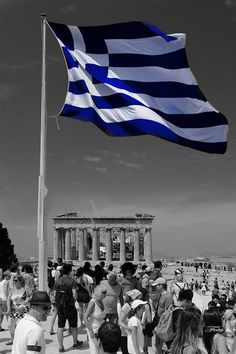 Athens, Parthenon, flag and visitors. Beautiful photo uploaded by Nikos Kikakis Parthenon, Acropolis, Greece Flag, Countries Europe, Greek Beauty, Greek History, Greek Culture, Travel Wallpaper, Athens Greece