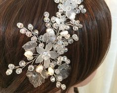 Perla corona corona nupcial corona de plata por JArendsDesigns
