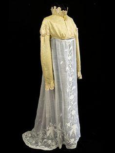 Silk Spencer jacket over hand embroidered gauze dress, c.1805-1810.