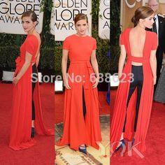 DAC2716 Golden Red Carpet Dresses Crew Neck Short Sleeve Front Slit Backless Sexy Celebrity Dresses