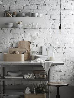 Rustic Italian Home Kitchen Corner, Kitchen And Bath, Kitchen Dining, Brick Wall Kitchen, Kitchen Lamps, Kitchen Lighting, Rustic Italian, Italian Home, Rustic Kitchen Decor