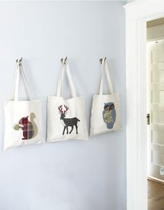 Animal tote bag with fabric on canvas bag