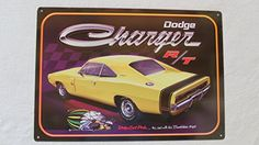 This retro Dodge Charger RT Muscle Car Metal Sign features the Chrysler sports car in race yellow. The lithographed tin sign is made in the USA Man Cave Usa, Chevy, Car Signs, Garage Signs, Dodge Charger Rt, Vintage Tin Signs, Vintage Cars, Frames For Canvas Paintings, Cars