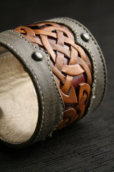 Celtic Design Leather Cuff - the intricate interweaving of design completes itself in a circular motif