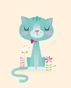Cat nursery print Christmas nursery gift by IreneGoughPrints