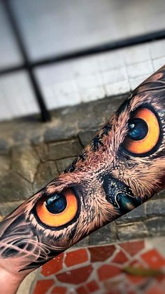Owl Forearm Tattoo, Forearm Sleeve Tattoos, Best Sleeve Tattoos, Tattoo Sleeve Designs, Arm Band Tattoo, Body Art Tattoos, Tatoos, Tiger Eyes Tattoo, Owl Eye Tattoo