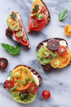 This toast idea is simple yet flavorful and delicious. Grilled toast is topped with an onion & chive cream cheese and fresh heirloom tomatoes. Use dairy-free cream cheese or gluten-free bread, if needed.