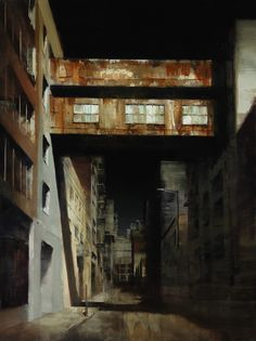 """""""Weintstein's Skybridge"""", Kim Cogan, oil, 48 x collection of the artist. Nocturne, Urban Painting, City Art, Urban Landscape, Contemporary Paintings, Urban Art, Painting Inspiration, Art Inspo, Les Oeuvres"""