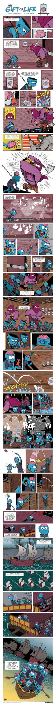 Don't be a sheep; think for yourself. The Gift of Life by Chris Hardwick (art by Zen Pencils)   9GAG