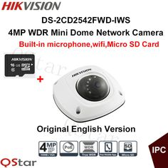 Hikvision Original English CCTV Camera DS-2CD2542FWD-IWS 4MP WDR Mini Dome IP WIFI Camera POE Built in microphone IP67+16G Card