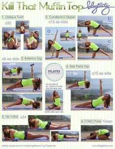 muffin top workout // UPDATE: Pretty much your body is staying in the same position for all the poses. Id give it an 8 out of 10. Moving on to my 5th routine for the morning. 08/2013 - Cilla (P.s. Cilla is short for Priscilla, I try to update any pins that Ive done/continue to do on a daily basis to let other pinners know about my experience.)