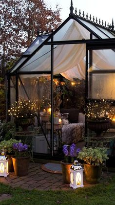 Greenhouse Attached To House, Backyard Greenhouse, Greenhouse Plans, Backyard Patio, Backyard Landscaping, Backyard Ideas, Wedding Backyard, Backyard Pavilion, Small Greenhouse