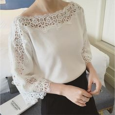 Elegant Lace blouse sold by blingdecoshop. Shop more products from blingdecoshop on Storenvy, the home of independent small businesses all over the world. Blouse Styles, Blouse Designs, Hijab Fashion, Fashion Dresses, Sewing Blouses, Lace Blouses, Diy Clothes, Clothes For Women, Mode Top